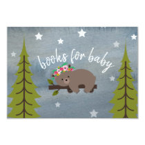 Sleepy Bear Cub Neutral Baby Floral Book Request Card