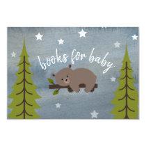 Sleepy Bear Cub Neutral Baby Shower Book Request Card