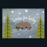 "Sleepy Bear Cub Neutral Baby Shower Book Request Invitation<br><div class=""desc"">A baby shower book request featuring an illustration of a baby bear lounging on a tree branch surrounded by stars on front.  Back features poem and mountains.</div>"