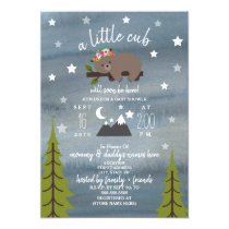 Sleepy Bear Cub Watercolor Girl Baby Shower Invitation