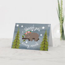 Sleepy Bear Floral Thank You Stars Watercolor