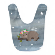 Sleepy Bear Floral Watercolor Stars Bib