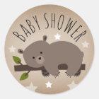 Sleepy Bear Stars Baby Shower Sticker