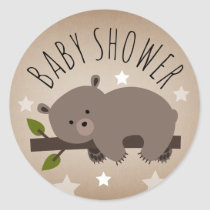 Sleepy Bear Stars Baby Shower Sticker