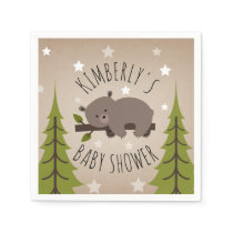 Sleepy Bear Stars   Trees Baby Shower Paper Napkin