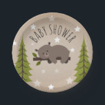 "Sleepy Bear Stars   Trees Baby Shower Paper Plate<br><div class=""desc"">A baby shower plate featuring an illustration of a sleepy bear on  a tree branch surrounded by stars between two evergreen trees over a cardstock inspired background.</div>"