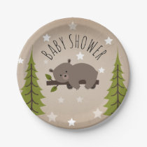 Sleepy Bear Stars   Trees Baby Shower Paper Plate