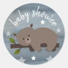 Sleepy Bear Stars Watercolor Baby Shower Classic Round Sticker