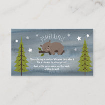 Sleepy Bear Stars Watercolor Diaper Raffle Enclosure Card