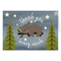 Sleepy Bear Thank You Stars Watercolor Card