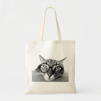 Sleepy Bored Cat with Glasses Tote Bag
