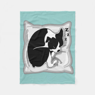 Sleepy Boston Terrier Fleece Blanket