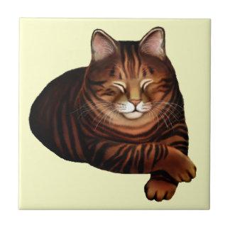 Sleepy Brown Tabby Cat Tile