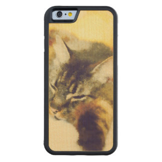Sleepy Cat Carved Maple iPhone 6 Bumper Case