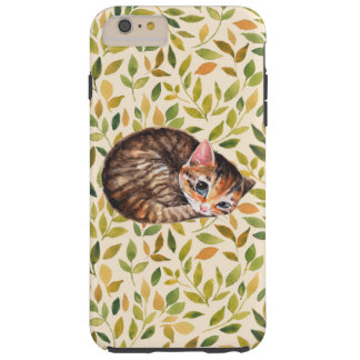 Sleepy cat, floral background tough iPhone 6 plus case