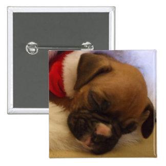 Sleepy Christmas Boxer Puppy button