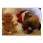 Sleepy Christmas Boxer Puppy greeting card