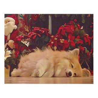 Sleepy Christmas Corgi Panel Wall Art