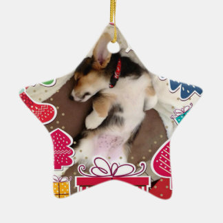 Sleepy Christmas Corgi Puppy Ceramic Ornament
