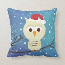 Sleepy Christmas Owl Holiday Decorative Pillow