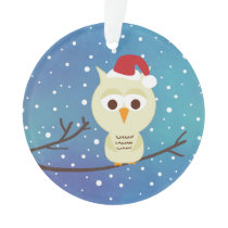 Sleepy Christmas Owl Personalized Holiday Ornament