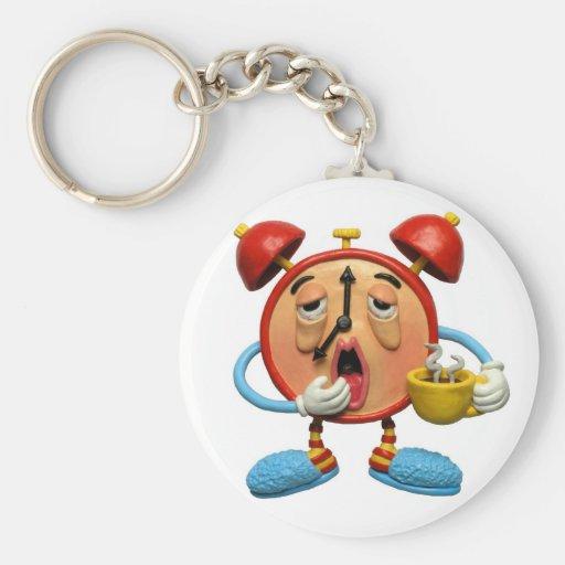 Sleepy Clock Basic Round Button Keychain