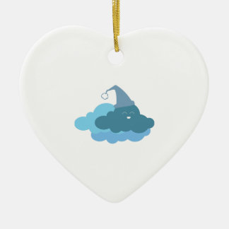 Sleepy Cloud Double-Sided Heart Ceramic Christmas Ornament