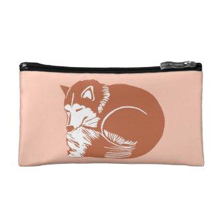 Sleepy Copper Brown Husky Peach Cosmetic Bag