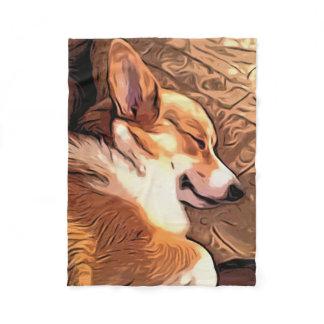 Sleepy Corgi Fleece Blanket