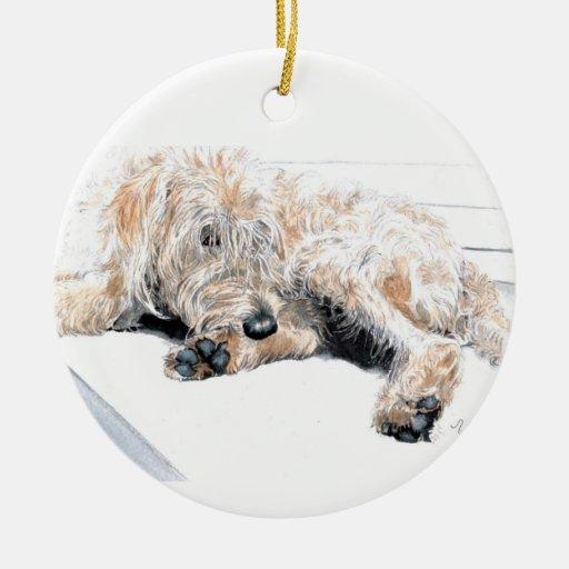Sleepy Cream Labradoodle Double-Sided Ceramic Round Christmas Ornament