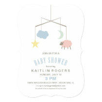 Sleepy Crib Mobile Baby Shower Invitation