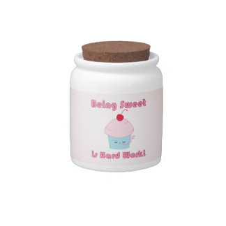 Sleepy Cupcake and Cherry Kawaii cookie jar Candy Jar