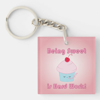 Sleepy Cupcake and Cherry Kawaii keychain