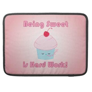 Sleepy Cupcake and Cherry Kawaii Macbook Pro Sleeve For MacBooks