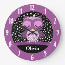 sleepy cute owl large clock