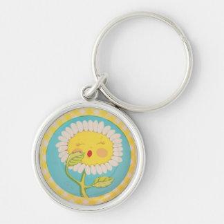 Sleepy Daisy Silver-Colored Round Keychain
