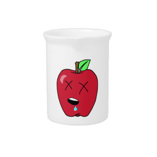 Sleepy Drooling Red Apple Beverage Pitchers