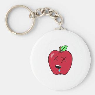 Sleepy Drooling Red Apple Keychain