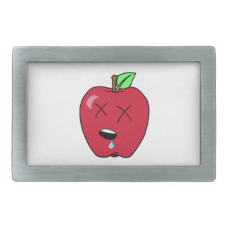 Sleepy Drooling Red Apple Rectangular Belt Buckle