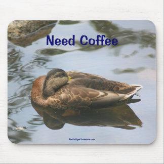Sleepy Duck Need Coffee Funny Mousepad