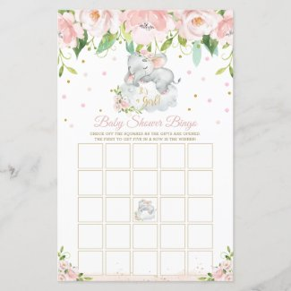 Cheap Blank Baby Shower Bingo Cards, Sleepy Elephant Pink Floral Game