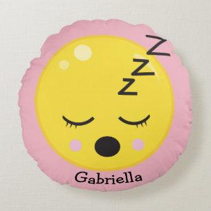 Sleepy Emoji Decorative Round Throw Pillow