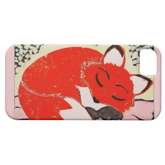 Sleepy Fox iPhone 5/5s Case with Soft Pink Border