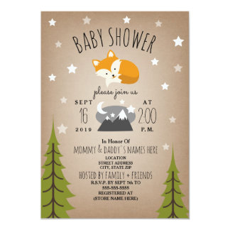 Sleepy Fox Mountains Baby Shower Card