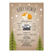 Sleepy Fox Mountains Baby Shower Invitation