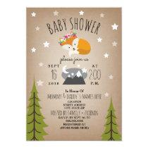 Sleepy Fox Mountains Girl Baby Shower Invitation