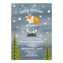 Sleepy Fox Mountains Watercolor Girl Baby Shower Invitation