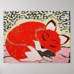 Sleepy Fox Poster, 11 x 8.5 Inches
