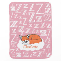 Sleepy Fox Zzz, Pink Personalized Child's Name Stroller Blanket