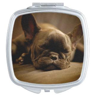 Sleepy French Bulldog Makeup Mirror